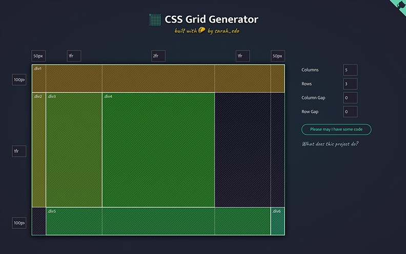 Generate basic CSS Grid code to make dynamic layouts