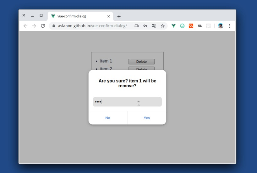 Simple Confirm Dialog verification plugin with vue.js