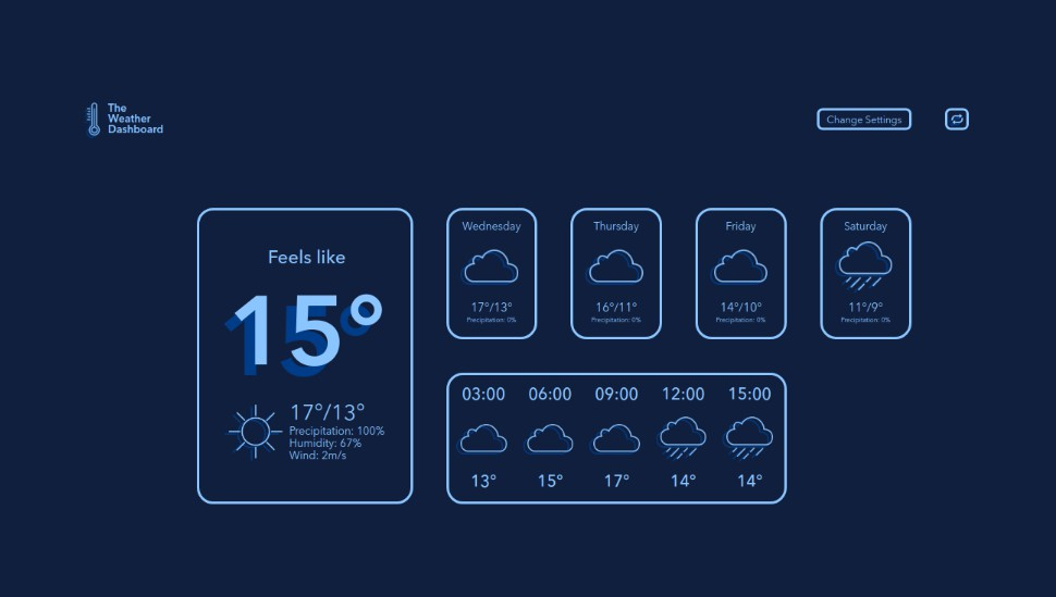 A small and stylish weather dashboard with vue