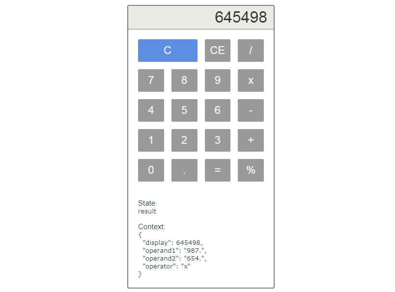 A javascript calculator built with Xstate and Vue