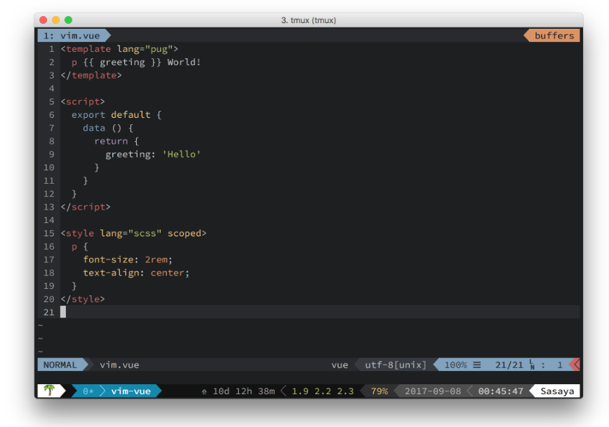 Vim syntax highlighting for Vue components