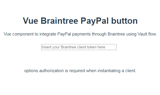 Vue component to integrate PayPal payments through Braintree using Vault flow