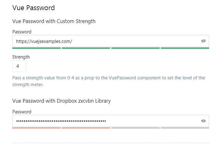 A Vue.js password input component that includes a toggle to show the password